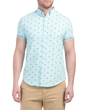 Short Sleeve Shirt With Palm Tree Print