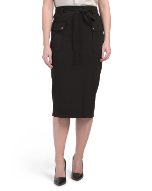 Long Slim Pencil Skirt With Tie Waist