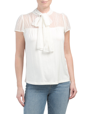 Illusion Sleeve Tie Front Top