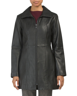 Full Zip Leather Coat