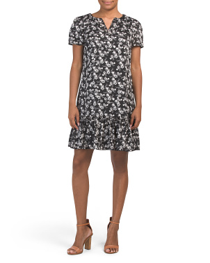 Abstract Print Frill Bottom Dress