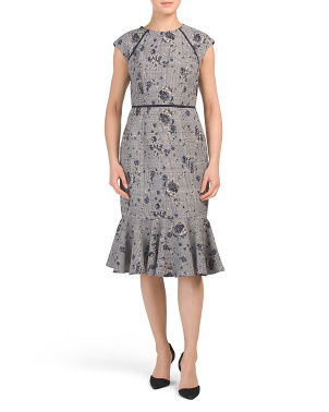 Mixed Print Flounce Hem Sheath Dress