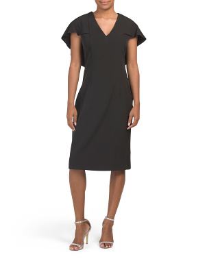 Cape Overlay Cocktail Dress