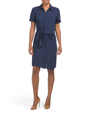 Shirt Dress With Front Side Tie