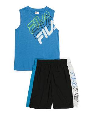 Little Boys 2pc Muscle Tank Short Set