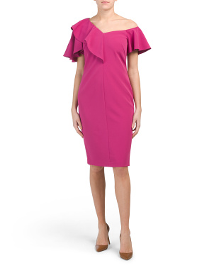 Asymmetrical Ruffled Sheath Dress