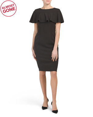 Flared Capelet Sheath Dress