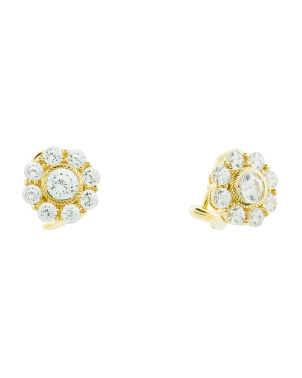 Sterling Silver Cz Vintage Flower Stud Earrings