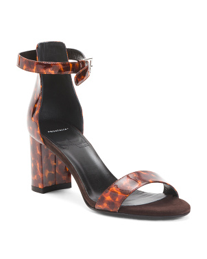 Made In Italy Leather Tortoise Print Sandals