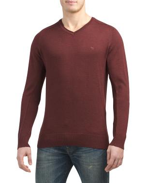 Burfield Extrafine Merino Wool V-neck Sweater