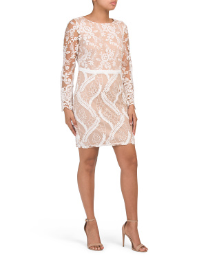 Petite Contrast Lace Soutache Dress