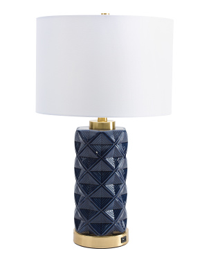 Ceramic Table Lamp With Usb Port