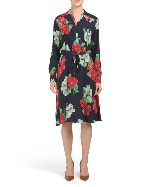 Long Sleeve Floral Print Henley Shirt Dress