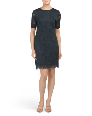 Petite Scalloped Hem Lace Dress