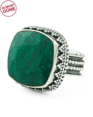 Handmade In India Sterling Silver Emerald Square Ring