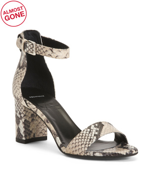 Made In Italy Leather Snake Heel Sandals