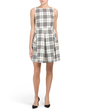 Plaid Ponte Fit & Flare Dress With Pockets