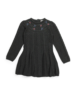 Little Girls Cable Yoke Sweater Dress