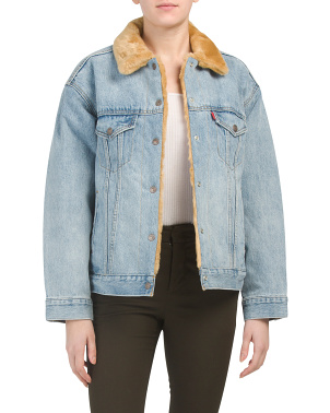 Juniors Faux Fur Dad Trucker Jacket