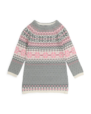 Little Girls Jacquard Sweater Dress