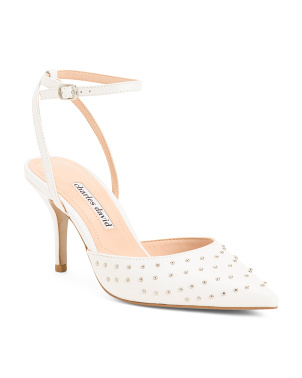 Leather Ankle Strap Pumps With Stud Detail