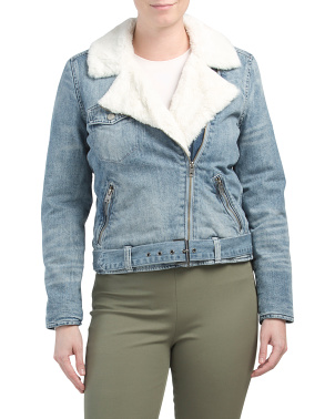 Moto Faux Fur Denim Jacket
