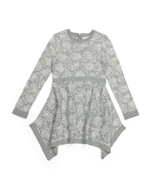 Girls Floral Jacquard Sweater Dress
