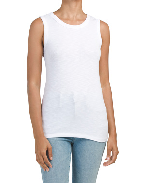Sleeveless Slub Crew Neck Tank