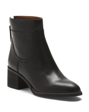 Leather Boots With Metal Trim Detail