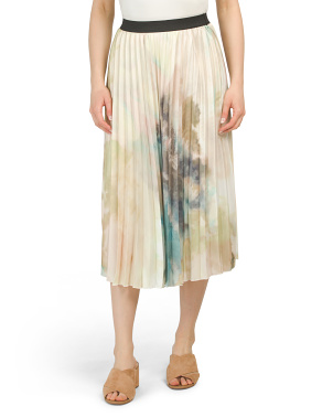 Tie Dye Pleated Midi Skirt