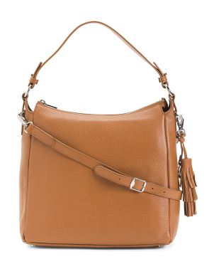 Made In Italy Leather Hobo With Top Handle