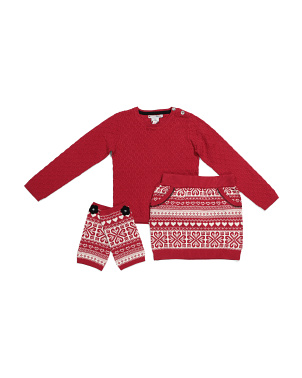 Little Girls Textured Jacquard Sweater Set With Leg Warmer