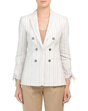 Linen Blend Striped Tie Jacket