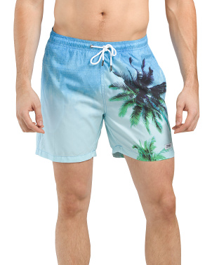 Photo Real Placement Print Swim Trunks
