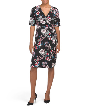 Floral Jersey Wrap Style Dress