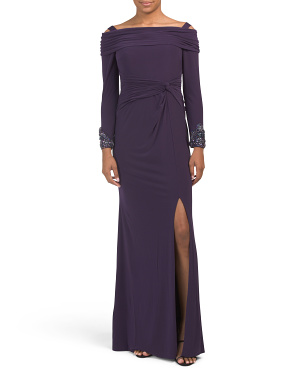 Cold Shoulder Jersey Gown