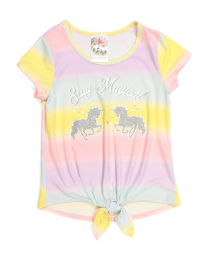 Little Girls Tie Front Top
