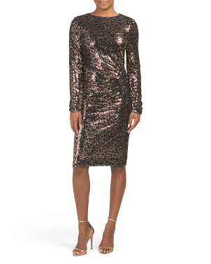 Long Sleeve Sequin Leopard Print Dress