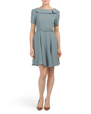 Belted Crepe Dress