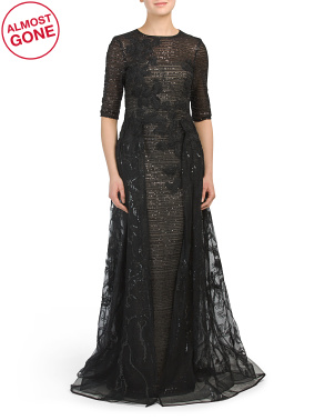 Metallic Boucle Lace And Tulle Fly Away Gown