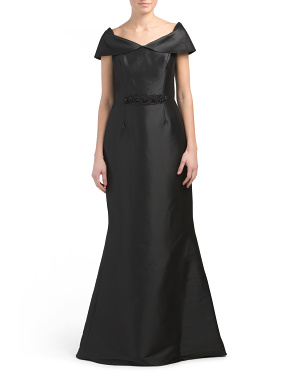 Gazar Off The Shoulder Gown With Stretch