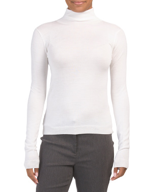 Wool Blend Shrunken Turtleneck Sweater