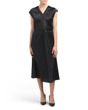 Silk V-neck Drape Dress