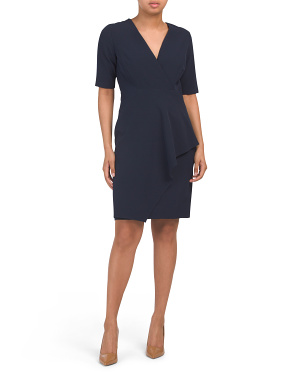 Petite Scuba Crepe V-neck Dress