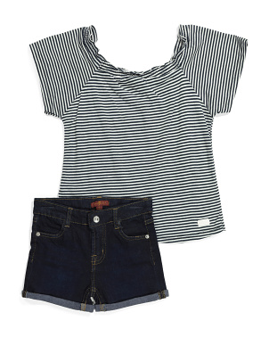 Little Girls 2pc Denim Short Set