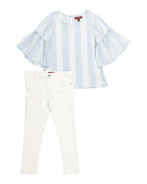 Little Girls 2pc Bell Sleeve Denim Set