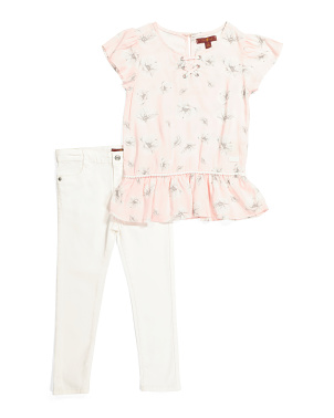 Little Girls 2pc Floral Denim Set