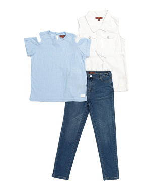 Little Girls 3pc Vest Denim Set