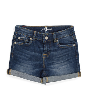 Little Girls Roll Cuff Stretch Denim Shorts