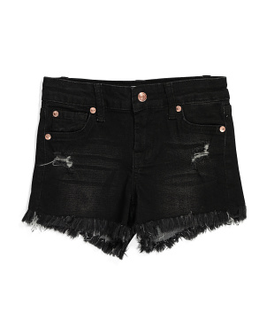 Little Girls Stretch Denim Shorts